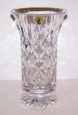 Stunning Signed Waterford Crystal Beautifully Cut Footed Flared 8 1/2 Vase