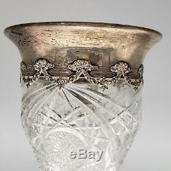 Tall American Brilliant Cut Glass Vase with Sterling Silver Rim ABCG
