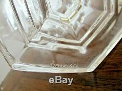 Tiffany 10.25 Tall CRYSTAL URN VASE Hexagon PANEL CUT Bedermeier RARE PAIR