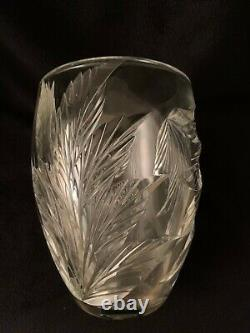 Tiffany & Co. Botanical Leaf Cut Vase by Emil Brost 9 Tall Stunning Piece