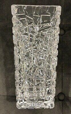 Tiffany & Co. Crystal LARGE Rock Cut Sierra Vase Square 9.5 Tall Flower Vase