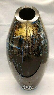 Tim Lazer Blown Glass Black / Gold Extra Large Slant Cut Vase 20 Inch