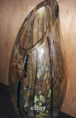 Tim Lazer Studio Art Glass Slash Cut Large Vase, 22.25, Signed, 2001