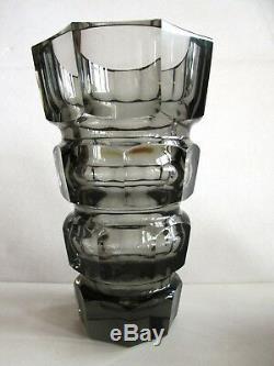 UNIQUE SMOKY CUT GLASS FACETED VASE MOSER Rare form. Read the description