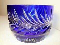 Unique vintage Bohemian Czech blue cut to clear glass crystal flower vase