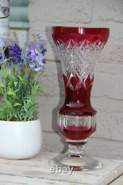 VAL SAINT LAMBERT Crystal glass ruby red cut Vase marked 1950s