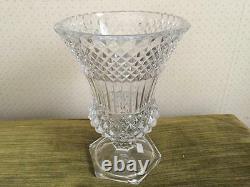 VAL ST. LAMBERT Heavy Cut Crystal Glass Vase 9 1/2 Heavy Pedestal Base Signed
