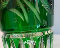 VTG 10 Meissen Cased Crystal Green Cut To Clear Vase Signed by Artist Germany