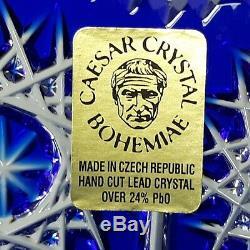 VTG Cesar Crystal Bohemiae Blue Cobalt Vase Art Glass Large Cut To Clear Czech