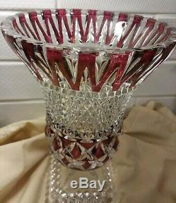 Val St Lambert Cranberry Crystal Cut To Clear Footed Vase 9 1/3 Tall
