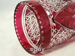 Val St. Lambert-Cranberry Red Cut To Clear 12 Inch Vase-Unmarked