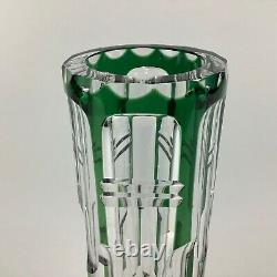 Val St. Lambert Emerald Green Cut Clear Crystal 10 Inch Cylindrical Vase
