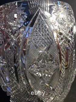 Very Large Antique ABP American Brilliant Cut Crystal Vase 10 3/4 (27 Cm)