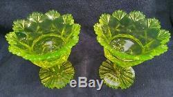 Very rare Biedermeier Vaseline cut uranium glass compotes can 1840-1850's