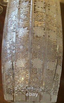 Vint Hand Cut 12 Tall Bohemian Lead Crystal Vase Square/Flower Pattern