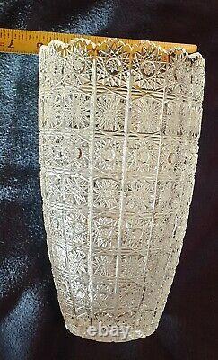 Vintage 10 Queen Lace Bohemian Czech Hand Cut Glass Crystal Vase Rare