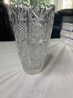 Vintage 10 VASE AMERICAN BRILLIANT CUT CRYSTAL Sawtooth Etched Large Glass 6 lb