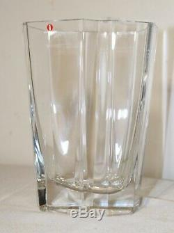 Vintage 1988 Tapio Wirkkala Iittala iceberg cut crystal art glass vase Finland