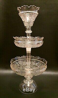 Vintage 20 Etched Cut Glass Epergne Crystal Centerpiece Antique Vase 3 Piece