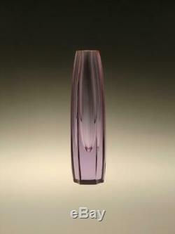 Vintage Alexandrite Cut Glass Vase Drobnik Bohemian Czech 1960s 60s Decorative