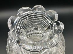 Vintage American Brilliant Period ABP Cut Crystal Fan Hobstar Art Glass Vase