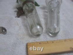 Vintage Antique Auto Car Bud Flower Vase Model A T Ford Cut Glass Brackets Rod