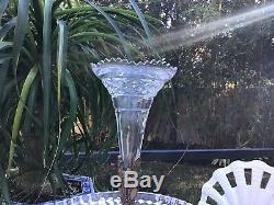 Vintage Antique Brass Epergne Cut Glass Trumpet Vase Centerpiece