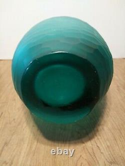 Vintage Art glass Vase Blue/Green Frosted Dragon Scale Texture Hand Cut