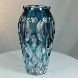 Vintage Blue Cut to Clear Crystal Vase Possibly Val St. Lambert Cased Glass