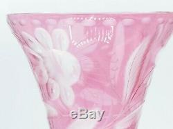 Vintage Bohemian Czech Cranberry Cut to Clear Etched Glass Vase Flowers / Fronds