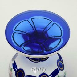 Vintage Bohemian White Cut To Cobalt Blue, Flowers & Gilt Glass Vase