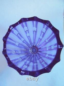 Vintage CZECH/BOHEMIAN NEODYMIUM Cut Glass VASE 1960s Design by V. Zahour