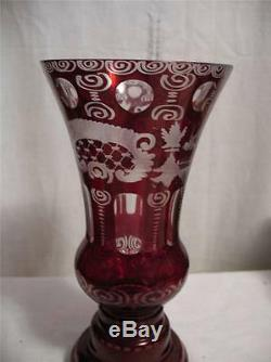 Vintage Castle Grouse Ruby Red Vase Cut To Clear Crystal Bohemian Glass Czech