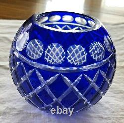 Vintage Cobalt Blue Cut Glass Rose Bowl Vase Intricate Czech Polish