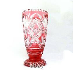 Vintage Cut Crystal Cranberry Pink Bohemian Heavy 19cm Vase