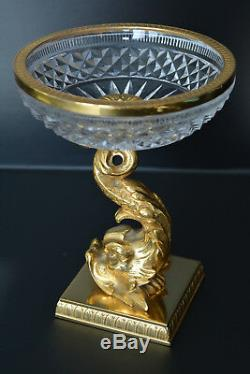 Vintage Cut Crystal Ormolu Mounted Serving Bowl Candy Nuts Dish