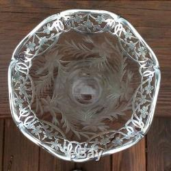 Vintage Cut Glass Etched Vase with Sterling Silver Overlay