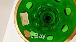 Vintage Czech Bohemian Cased White Cut To Emerald Enameled Glass Vase 9 1/2 R