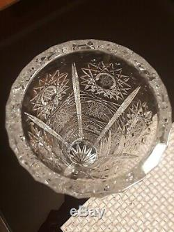 Vintage Czech Bohemian Crystal Glass One Stem Hand Cut VASE Queen Lace 12 Tall