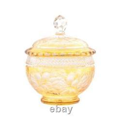 Vintage Czech Bohemian Egermann cut to clear floral etched amber art glass bowl