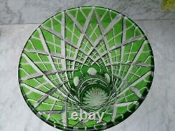 Vintage Hand Cut Crystal Green Vase