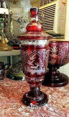 Vintage Huge Red Bohemian Leaded Cut-to-Clear Chalice with Lid, XIX C