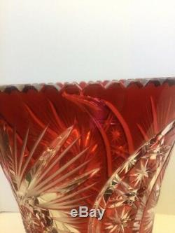 Vintage LARGE 11 Crystal Ruby Vase Cut To Clear Czech Bohemian Vase
