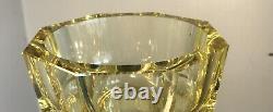 Vintage Moser Glass Facet Cut Vase Hoffmann 10 Yellow Color Super Clean