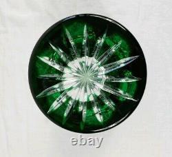 Vintage Nachtmann Bohemian Cut To Clear Trumpet Vase Emerald