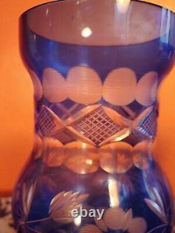 Vintage Pair Of Cut Glass Czech Bohemian Blue Mantel Vases