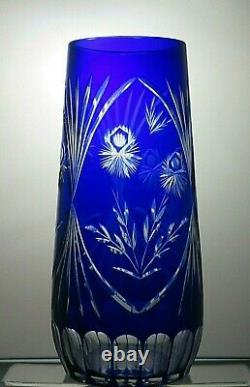 Vintage Rare Bohemia Crystal Cut To Clear Cobalt Blue Vase 11 3/4 Tall
