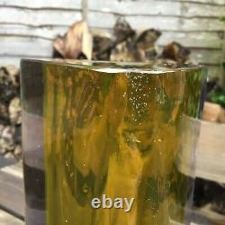 Vintage Retro Murano Triangular Block Cut Sommerso Violet & Yellow Glass Vase