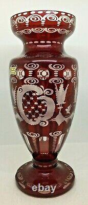 Vintage Signed Egermann Vase Bohemian Ruby Red Cut to Clear Glass Deer Stag