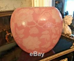 Vintage Steuben Floral Decorated Acid Cut Back 7 Art Glass Vase